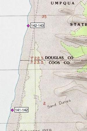 Oregon Dunes NRA, Coos/Douglas county line