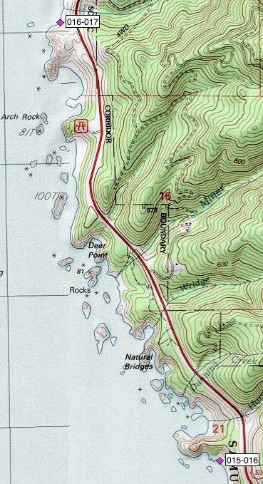 Boardman SP, Natural Bridges, Miner Cr, Deer Pt, Arch Rock