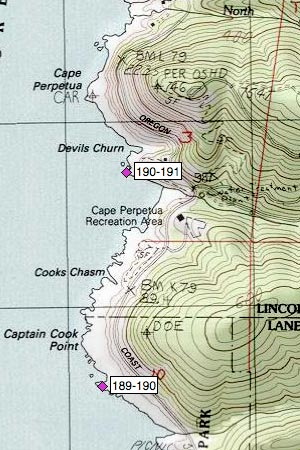 Captain Cook Pt, Cooks Chasm, Cape Perpetua SRA, Cape Cr