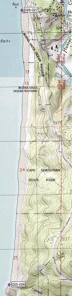 Cape Sebastian SP, Buena Vista Wayside, S of Hunter Cr