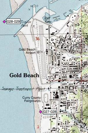 Gold Beach Fairgrounds, airport, Rogue River South Jetty