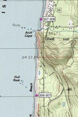Mile 307   Cove Beach north, Arch Cape, Arch Cape Creek | Oregon