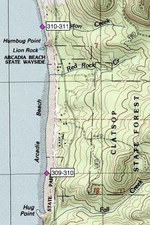 Arcadia Beach N, Wayside, Lion Rock, Humbug Point