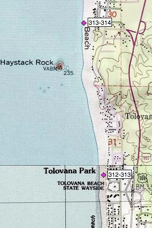 Tolovana Park north, Haystack Rock