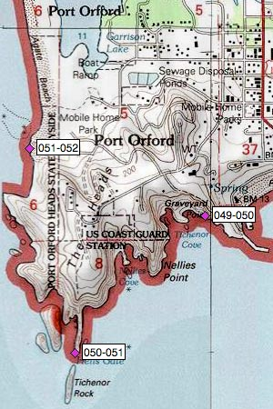 Port Orford Heads east of Tichenor Rock, Tichenor Cove