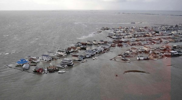 Photo of flooded houses along the New Jersey coast after Hurricane Sandy.