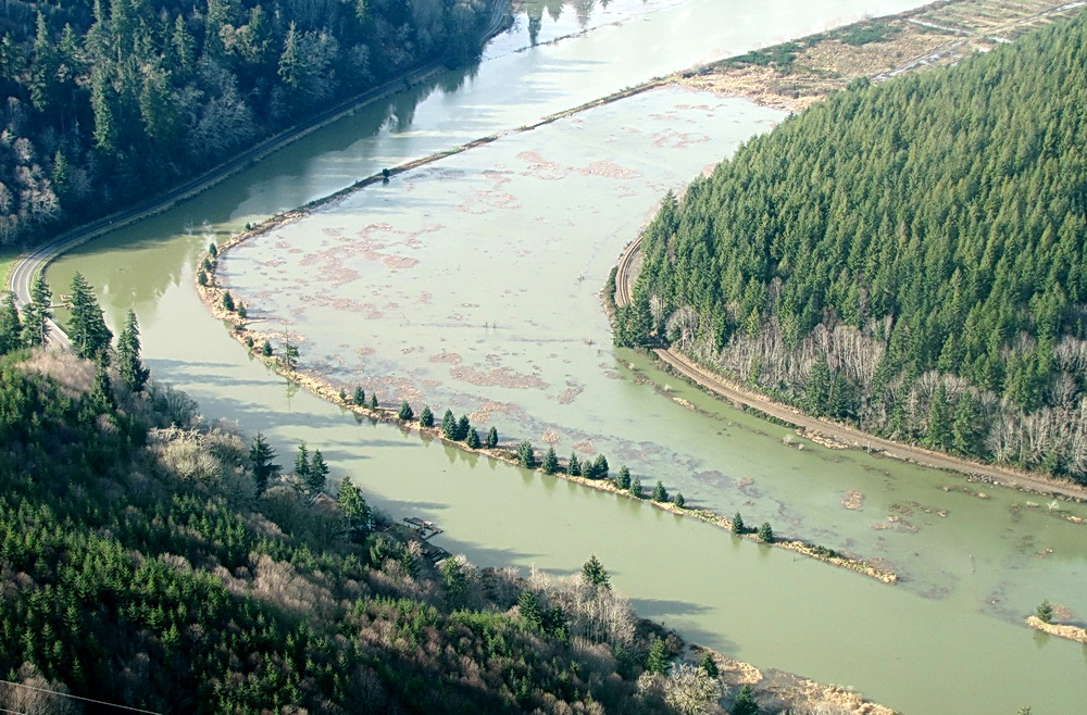 Yaquina River marshes drowned by a King Tide.  Photo by John Bauer.