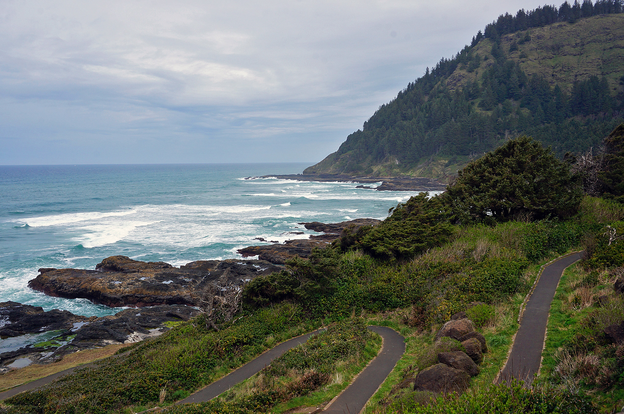 Image of Cape Perpetua trails along the coastline.
