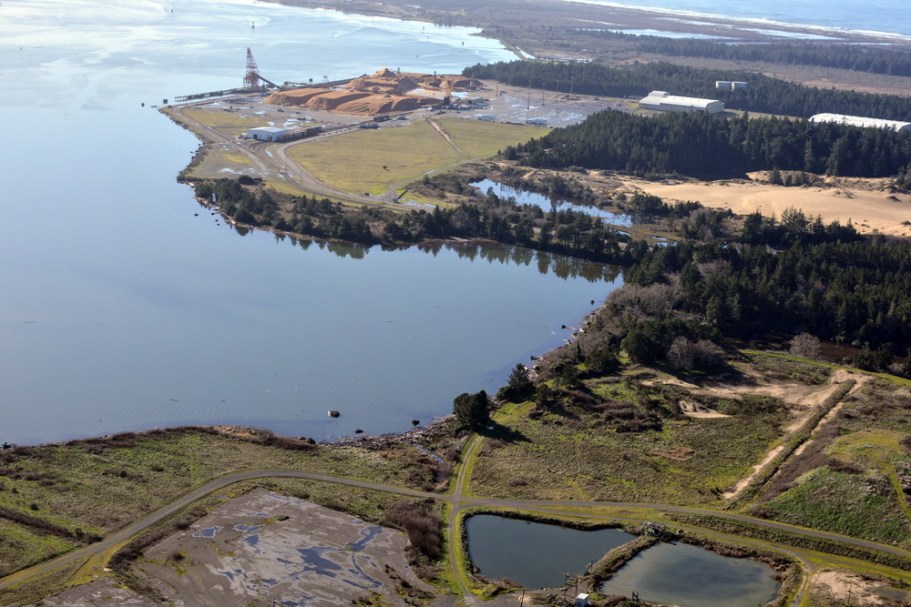 North Spit from the north, with Jordan Cove at top of photo.\Photo by Alex Derr.