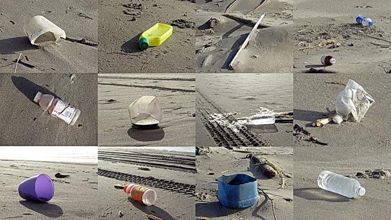 Marine debris assemblage. Photo collage by Randall Henderson.