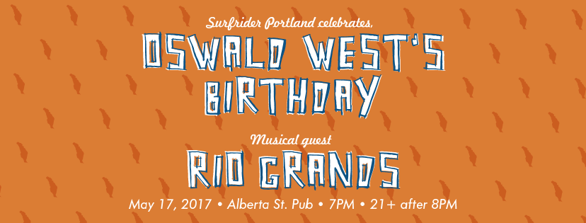 Image of Surfrider Portland's Oswald West Birthday Party Event Flyer.