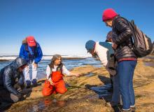 Fawn Custer, here leading a field trip at Otter Rock, is stepping down as CoastWatch Volunteer Coordinator.|Photo by Dennis White.