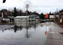 King Tide swamps downtown Nehalem.\Photo by Gretel Oxwang.