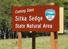 Photo of Sitka Sedge State Natural Area sign, by Dale Harmer.
