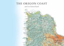 Image of top portion of Oregon coast map, showing title.