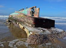 Derelict Japanese fishing vessel, debris from the tsunami, on Arcadia Beach.\Photo by Tiffany Boothe, Seaside Aquarium.