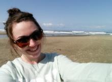 CoastWatch intern Sabrina Ehler takes a selfie on the shore.