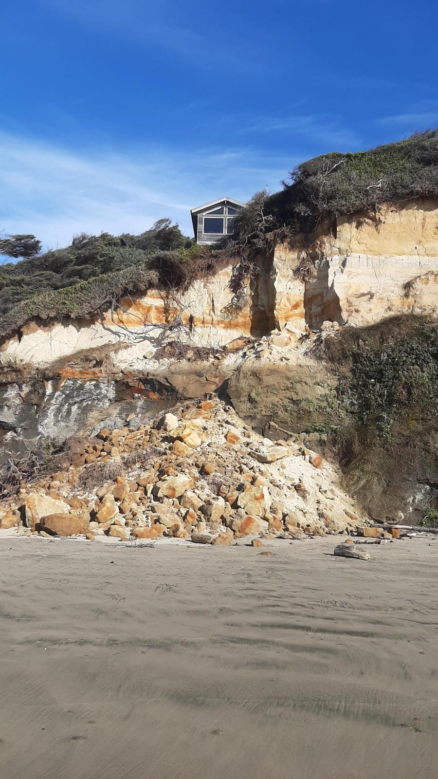 Small area of a bluff collapse