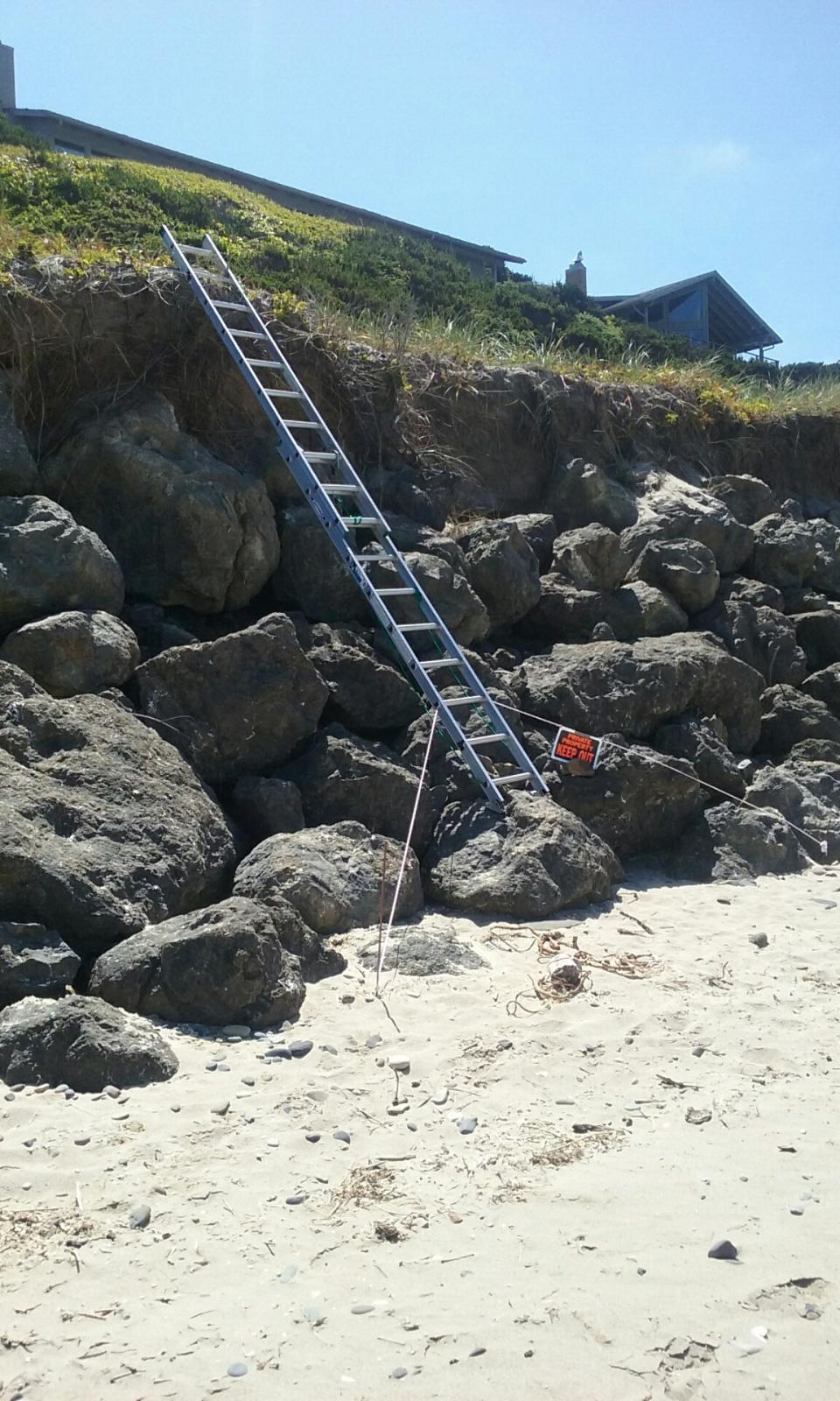 Ladder to private home.