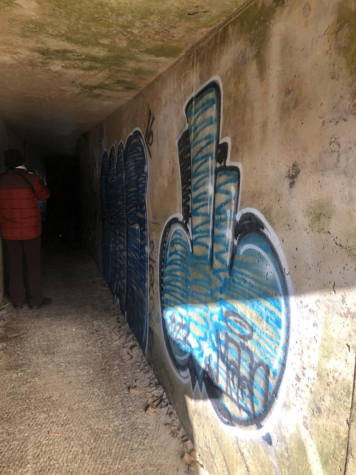 Graffiti inside Maxwell Point tunnel