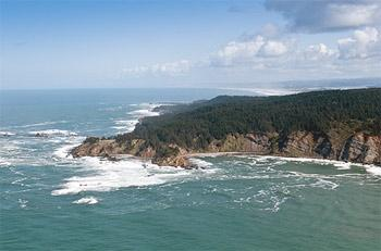 Aerial photo of Cape Arago.