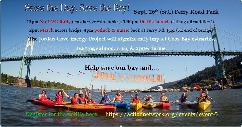 Poster for rally with image of kayakers in Coos Bay.