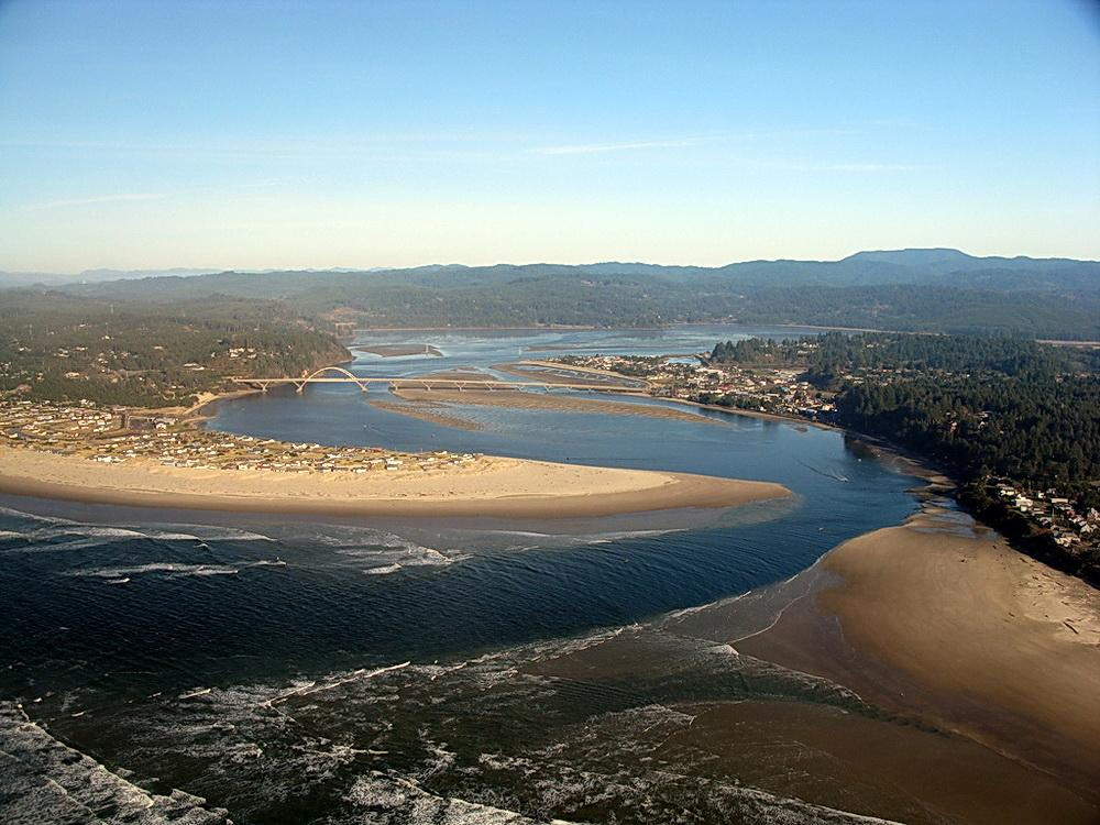 Alsea River mouth with Sharing the Coast Conference site in background.