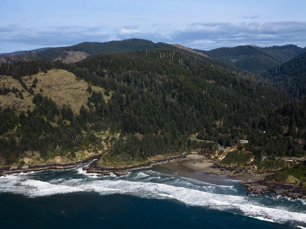 Cape Perpetua with Visitor Center to the right.\Photo by Alex Derr.