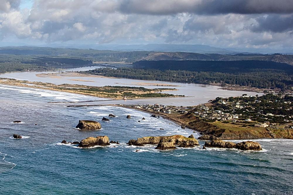 Aerial view of Coquille Point, where the beachwalk will take place.\Photo by Alex Derr.