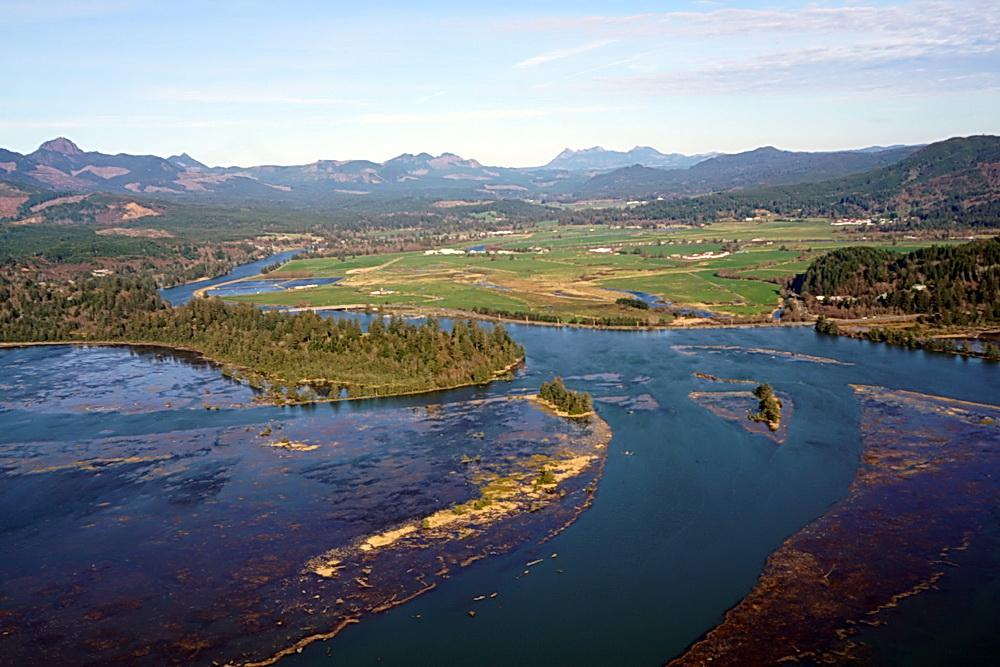 Aerial photo of Nehalem estuary at king tide.\Photo by Briana Goodwin.