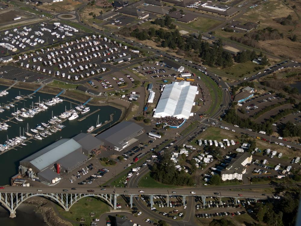 Newport Seafood & Wine Festival from the air.\Photo by Alex Derr.