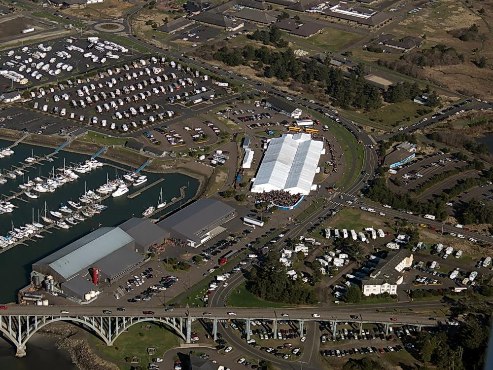 Newport Seafood and Wine Festival from the air. Photo by Alex Derr.
