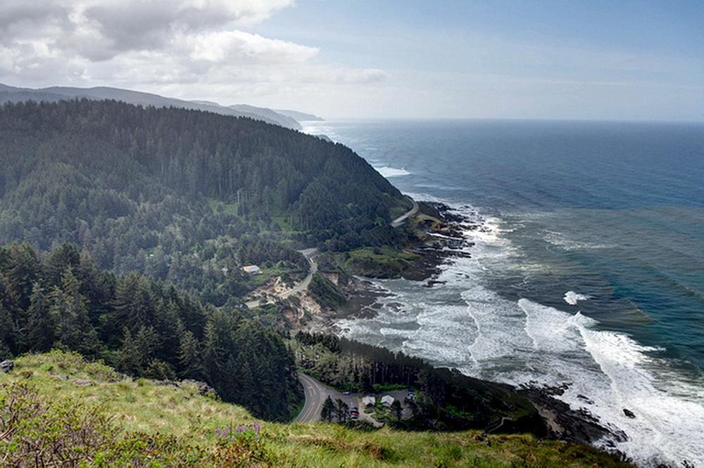View from Cape Perpetua, with visitor center in middle ground.\Photo by Gregory Henton.