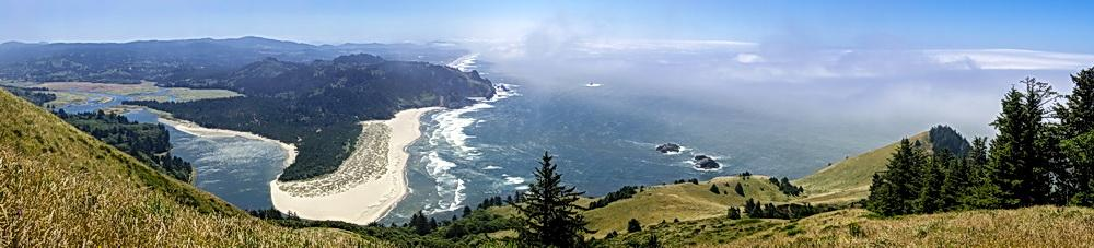 Panoramic view from Cascade Head, showing the Salmon River spit.\Photo by Dennis White.