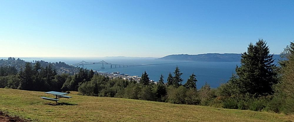 View of the Columbia River estuary, Astoria, and the Megler Bridge.\Photo by Sonja Peterson.