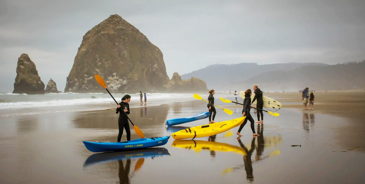 Photo of kayakers at Haystack Rock by Sonja Peterson.