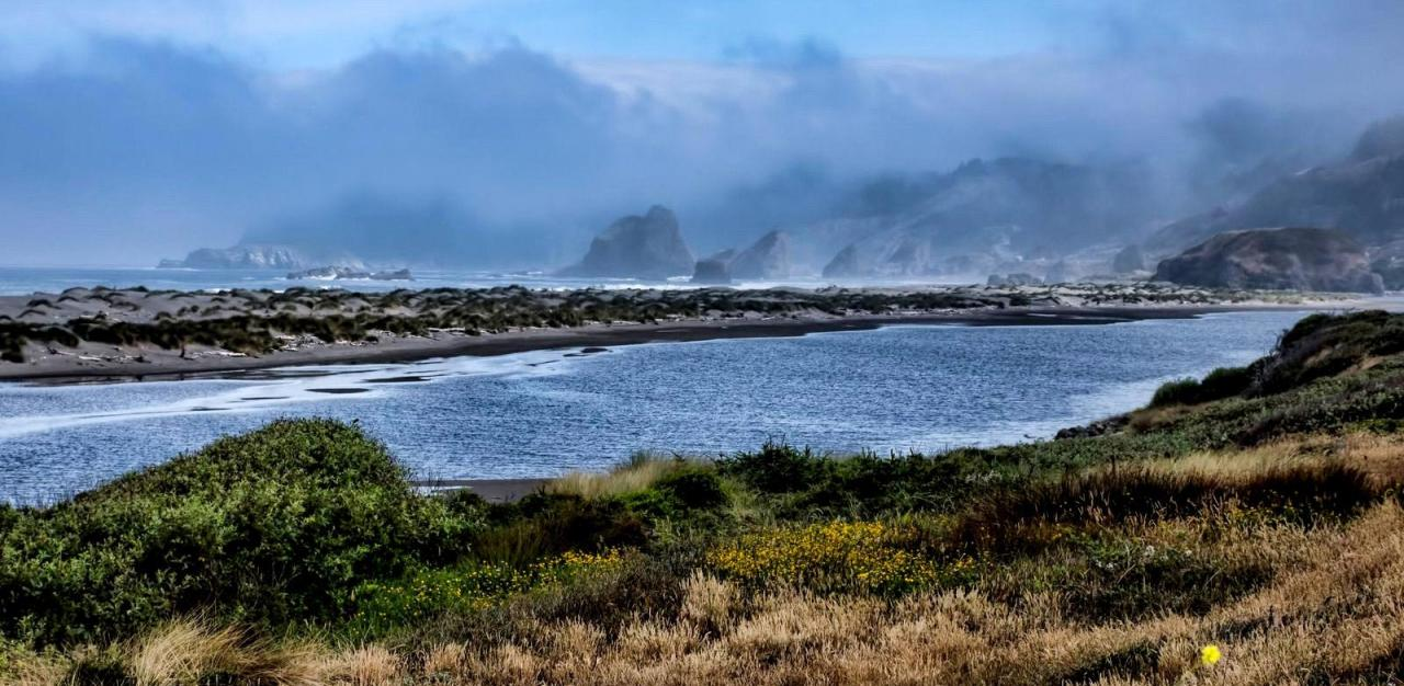 The Pistol River meets the ocean. Photo by Bruce Swenson.