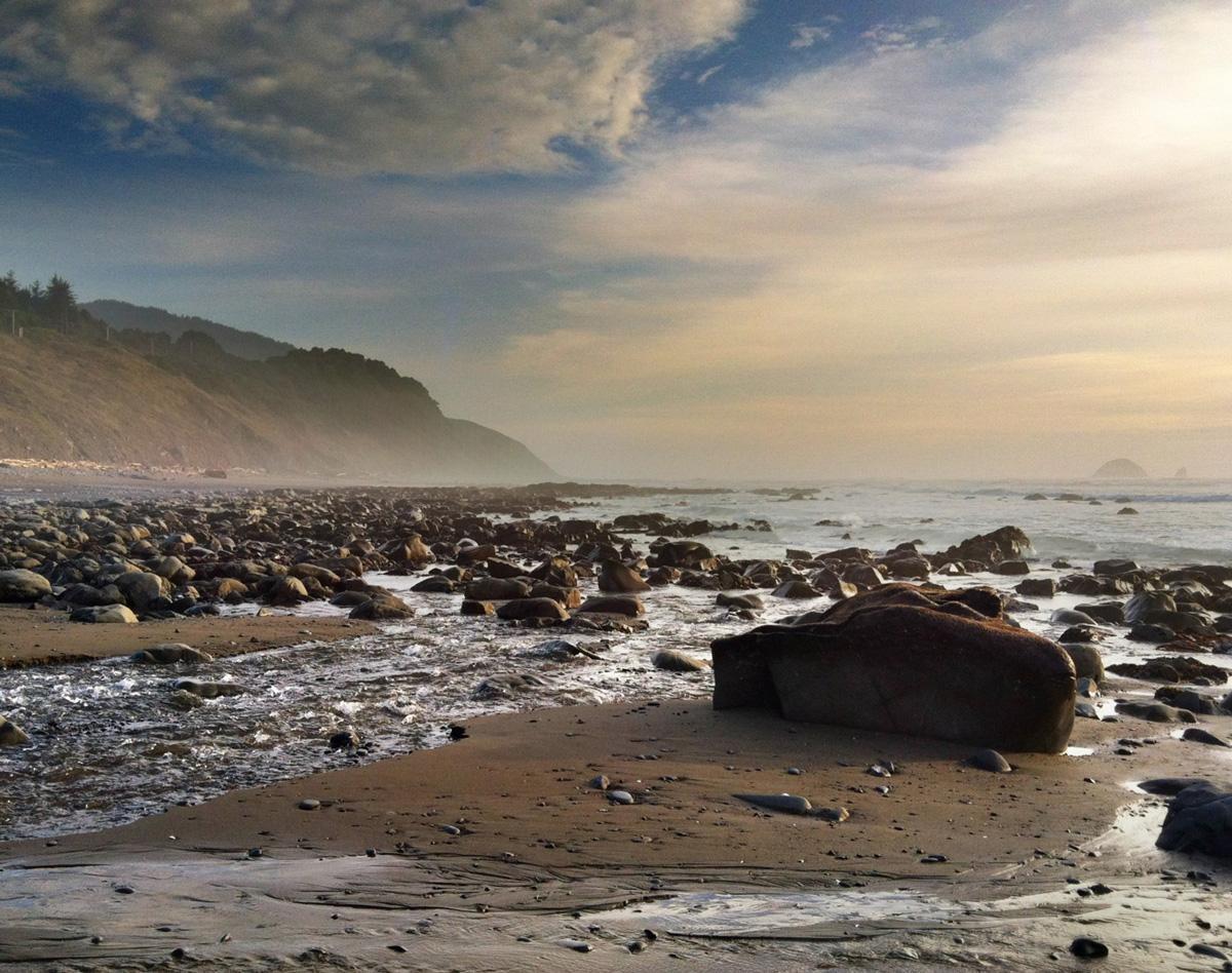Photo of beach next to Redfish Rocks marine reserve.