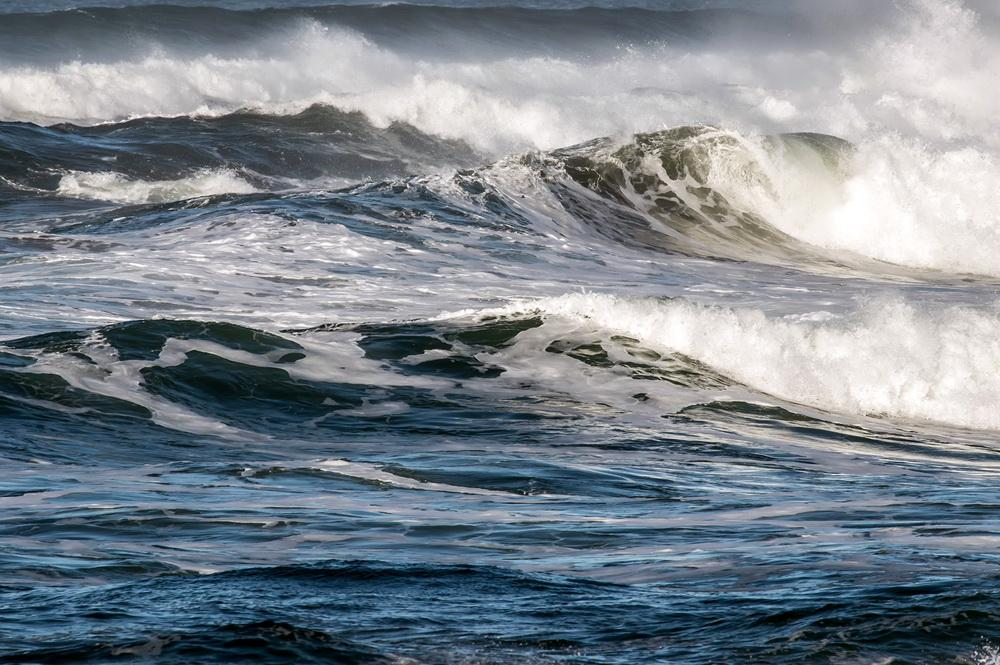 Waves off Yachats, fit for contemplation by a blue mind.\Photo by Rena Martin.