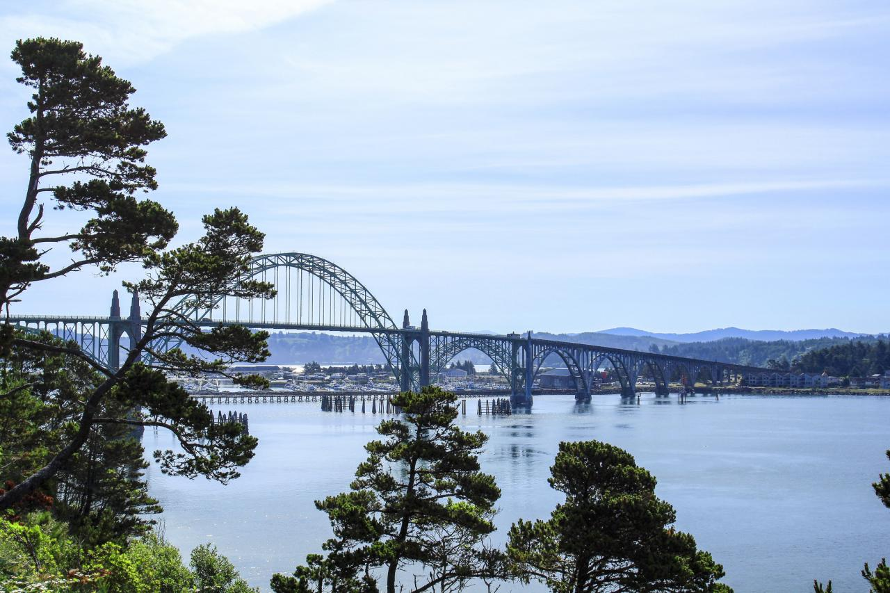 Yaquina Bay Bridge, with marine science center in the background.\Photo by Bonnie Moreland.