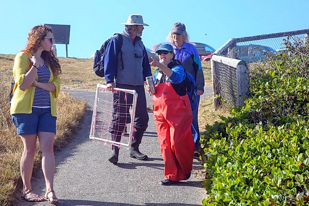 Fawn Custer (in the orange rainpants!) leads BioBlitz volunteers onto Roads End beach.\Photo by Doug Cody.