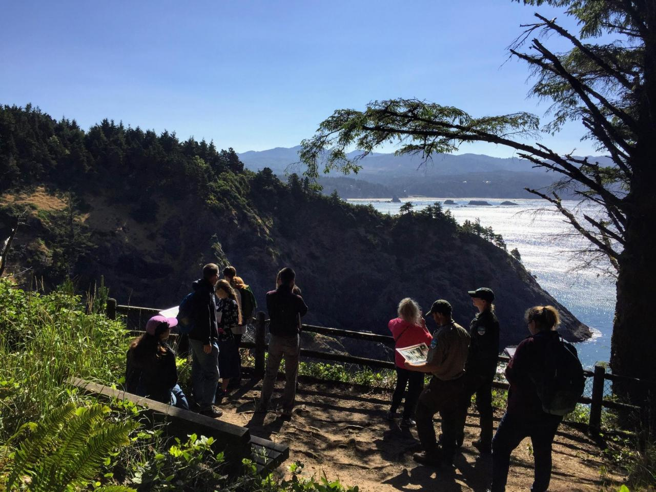 Teachers conducting the Port Orford Heads State Park Quest in 2017. | Photo by Cait Goodwin.