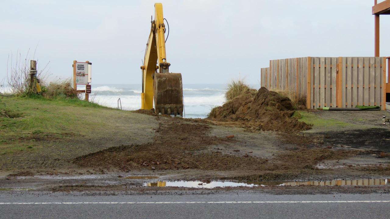 Beach access leveling.