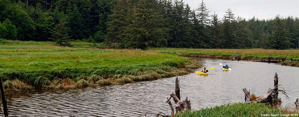 Kayakers enjoy an outing near Dalton Marsh in Oregon's South Slough National Estuarine Research Reserve. | Photo courtesy of South Slough NERR