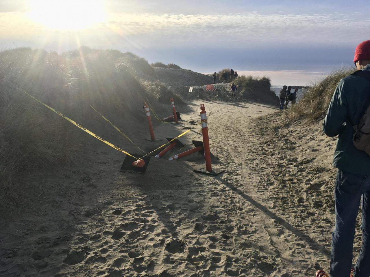 Beach entrance blocked from South Jetty path