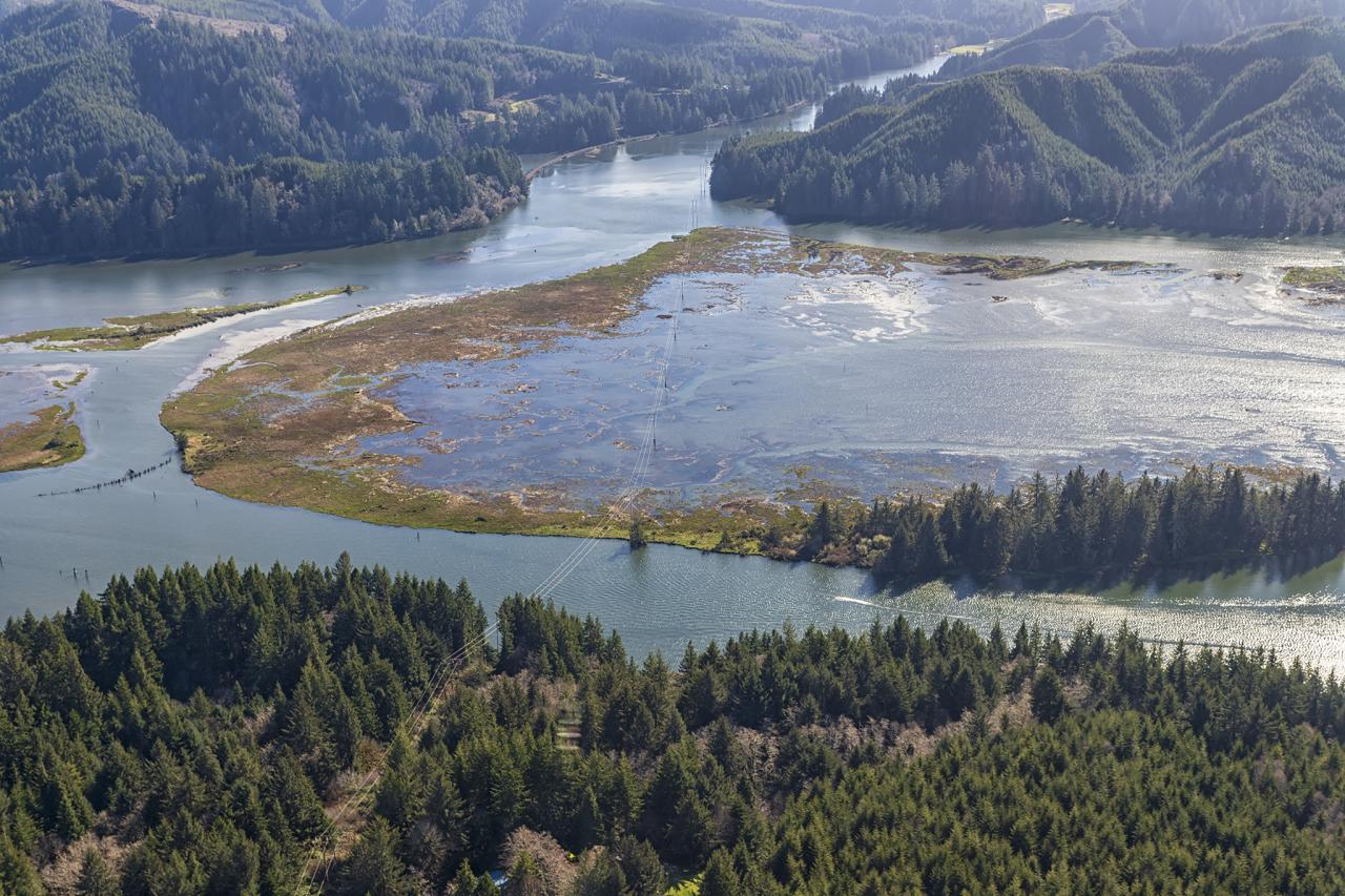 Siuslaw watershed during the most recent king tide.\Photo by Rena Olson, with aerial support from Lighthawk.