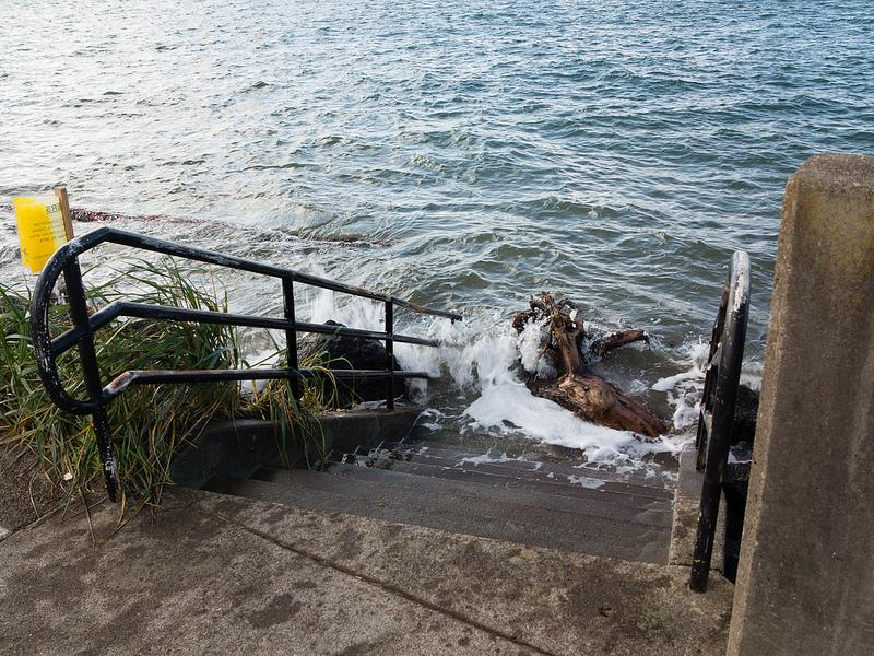 King Tide, Alsea Bridge steps Photo by Alex Derr.