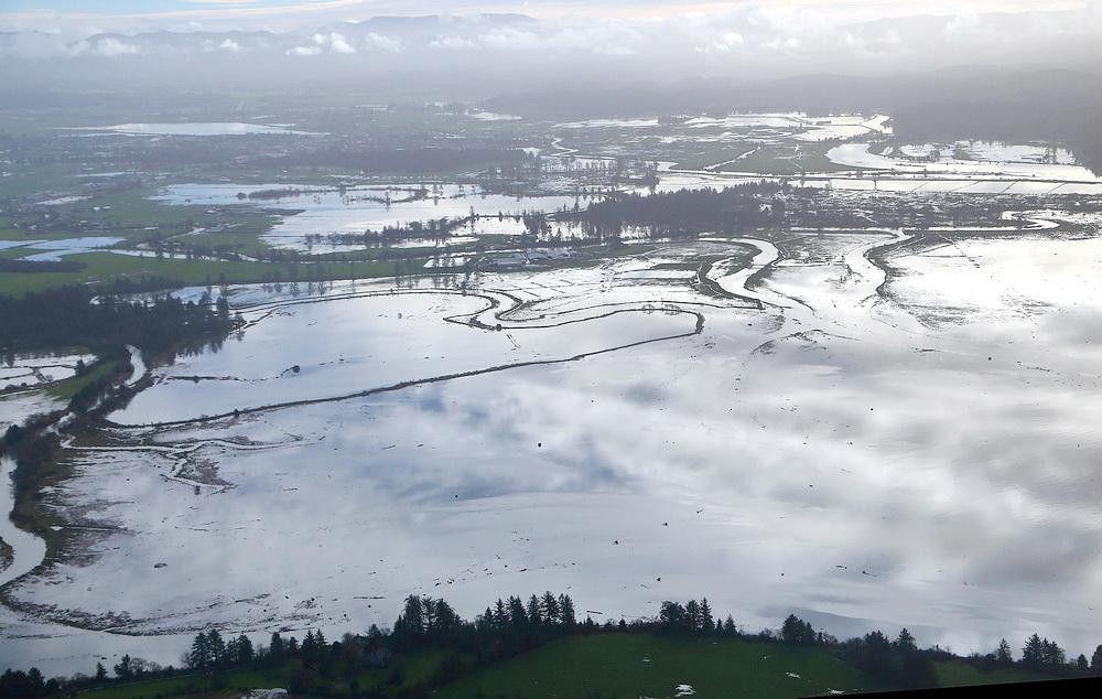King Tide (a proxy for sea level rise) swamps Tillamook Bay. Photo by John Bauer.
