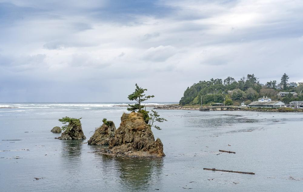 Siletz Bay during most recent King Tide series.\Photo by Bob Loewen.
