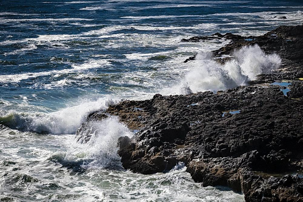 Waves and rocky shores on the Oregon coast.\Photo by Arenkert.
